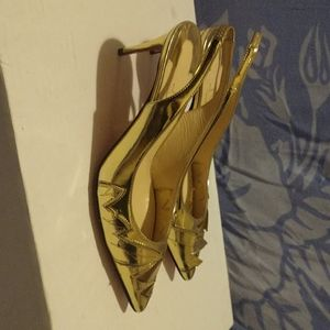 Christian louboutin francobella gold leaf pumps